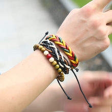 Buy 1Set (3-4PCs) Jamaica Color Leather Bracelet Men Multilayer Bead Hiphop Bracelets Women Handmade Wristband Rope Men Jewelry for $1.22 in AliExpress store