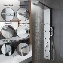 New Waterfall Rain Shower Column Body Massage Jets Hot and Cold Shower Panel 6 Multi-functional Nozzles Shower Set Shower Faucet