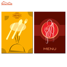 ShineHome-2pcs Wall Art Canvas Paintings Prints Bright Menu Artwork Pictures Posters for Cafe Coffee Bar Hotel Restaurant Decor(China)