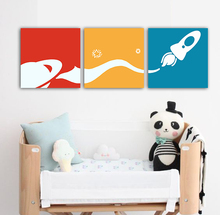 3 IN 1 Original Rockets Cartoon Canvas painting Morden art for kids room Nursery decor Wall art Unframed