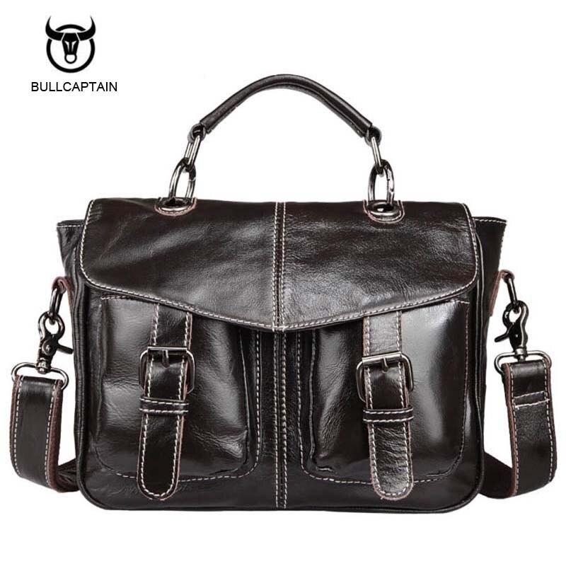 Bullcaptain Genuine Leather Bag Casual Men Handbags Cowhide Men Crossbody Bags Mens Travel Bags Tote Ipad Mini Briefcases Bag<br>