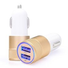 100% Original Metal Car Charger Dual USB 5V/2.1A Quick Auto Charge Compatible with Most Phones Tablet PC Best Quality Gold Color