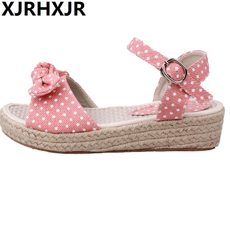 Female Child Young Girl Brief Sandals Sweet Princess Casual Shoes Gentlewomen Bohemia Wedges Sandals Womens Shoes Flat Sandals<br>