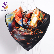 [BYSIFA] Ink Painting Satin Scarf Cape New Design Chinese Style Lotus Coffee Black Silk Scarf Shawl Brand Scarves Wraps Echarpes