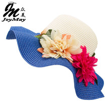 Fashion Mother Daughter Hat Lady Wide Large Brim Floppy Summer Beach Sun Straw Hat Cap with flower Free Shipping C015(China)