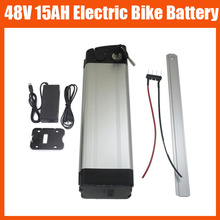 Rechargeable 750W 48V Electric Bike Lithium Battery 48V 15AH silver fish battery with 54.6V 2A charger and BMS Bottom discharge(China)