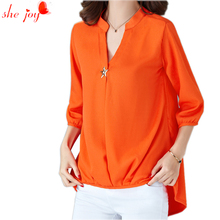 Casual Brief Women Blusa Chiffon V Neck Clothings Femme Irregular Shirt Plus Size Women Camisa 5Xl 4 Colors Feminino Shirts Top