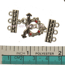 diy clasps & hooks fit multi bracelets necklaces toggle silver tone 3 holes handmade leaf crystal fashion jewelry parts 10 sets