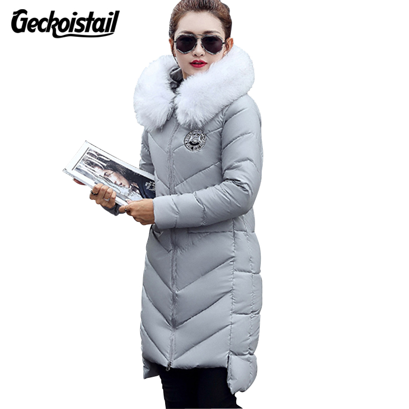 Geckoistail New Winter Fashion Women Jackets Parka Fur Collar Hooded Cotton Warm Jacket Coat Elegant Women Slim Parka OuterwearÎäåæäà è àêñåññóàðû<br><br>