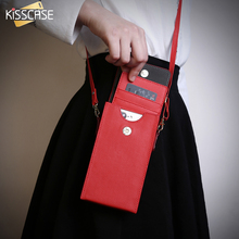 KISSCASE Universal Leather Shoulder Bag Sleeve For iPhone 7 Plus 4s 5 5s 5C SE 6 6s Plus S8 Card Holder Hoesjes Phone Case Cover