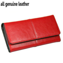 Ladies Women Wallets Genuine Leather Purses Long Wallet Woman Elegant Female Red Women's Wallets Leather Wallet Purse