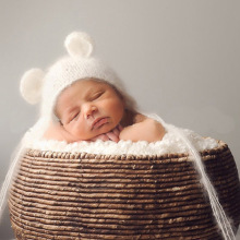 Baby Hand Crochet Bear Hat For Newborn Photography Props Caps Plush Hat For Baby Girls Boys Infant Knit Beanie Caps(China)