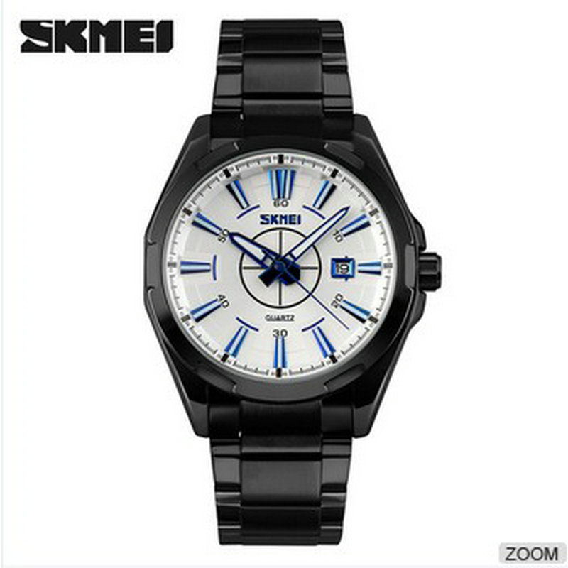 skmei stainless steel 3atm waterproof business watches,man japan movt quartz fashion watch<br>