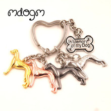 2017 Whippet Cute Dog Animal Gold Silver Plated Metal Pendant Keychain For Bag Car Women Men Key Ring Love K065(China)