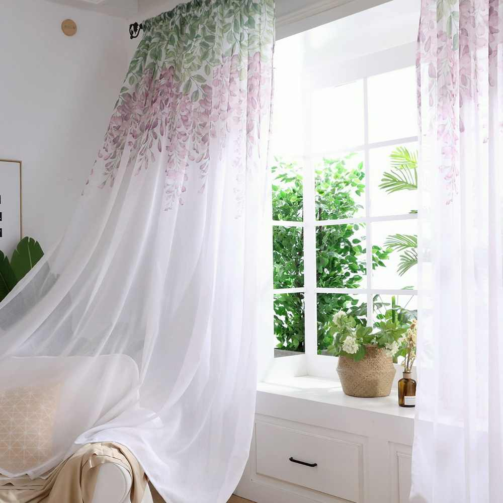 Urijk Tulle Curtain Printed Modern  Flower Separated Tulle Living Room Bedroom Kitchen Draped Panel Transparent Home
