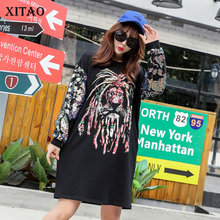 [XITAO] 2018 New Spring O-Neck Full Sleeve Europe Street Female Dress Animal Pattern Print Sequined Above Knee Dress XWW2868(China)