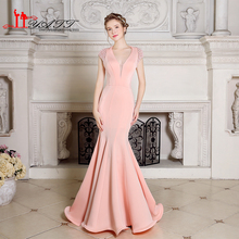 High Quality Pink Pearls Sample Sexy Mermaid Backless Long Evening Prom Dress 2016 Real Photo Exquisite Robe De Soiree ongue