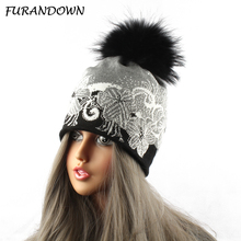 Mink Raccoon Fur Pompom Ball Beanie Hats Women Russian Fur Cap Knit Crochet Flower Hat With Diamond(China)