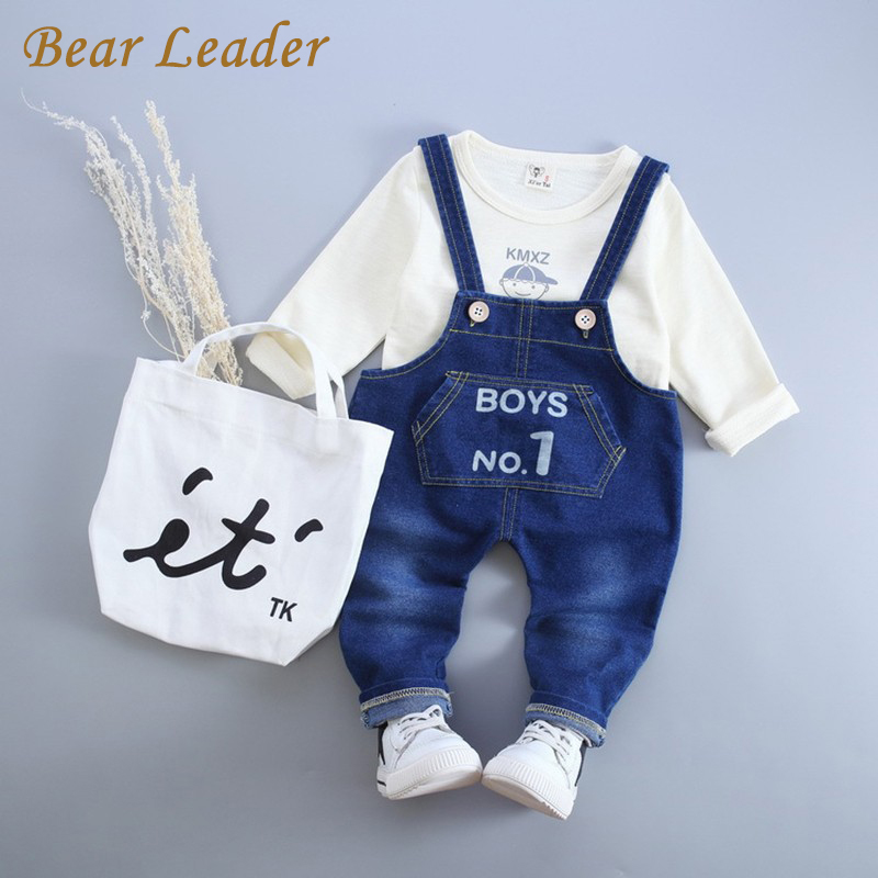 Bear Leader Baby Boy Clothes 2017 New Autumn Baby Clothing Sets Long Sleeve T-shirt+Denim Overalls 2Pcs for Kids Clothes 4-24M<br><br>Aliexpress
