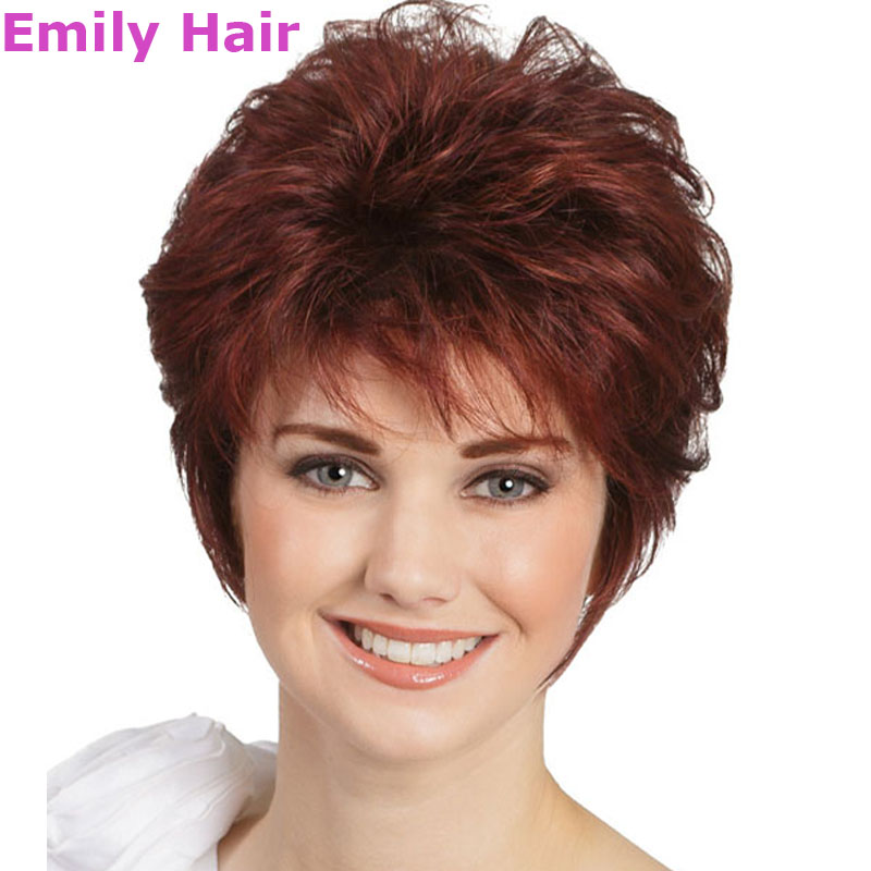 Perruques Courtes Cheveux Naturels Synthetic Hair Red Short Wig Afro Wigs For Black Women Synthetic Wigs With Bangs Pixie Wigs  <br><br>Aliexpress