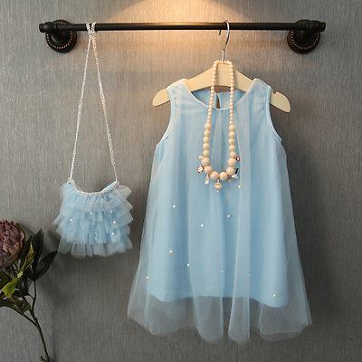 Cute Toddler Baby Flower Girl Princess Party Dress Bead Tulle Gown Fancy Dresses(China (Mainland))