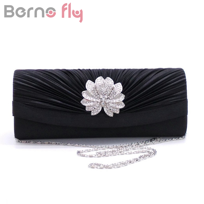 Berno fly Women Pleated Evening Hand Bag Crystal Dressed Clutch Bags Wedding Party Chain Purse Small Handbag Mini Day Clutches(China)