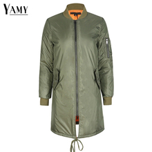 Winter army green ladies bomber jacket women's spring jackets female padded long basic coats military outerwear 2017 new