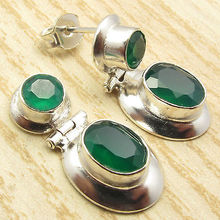 Silver Plated Cut GREEN ONYX Gem Stone HINGE STUD Earrings 2.5 CM