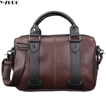 fashion crazy horse leather man handbags tote Unique design crossbody bags for male Sacoche Homme messenger shoulder bags brown(China)