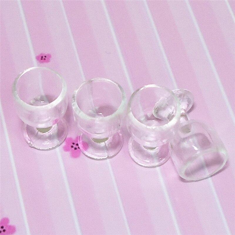 1:12 Scale Plastic 4Pcs Transparent Goblet Miniature Mini Wine Cup Dollhouse Craft Home Decoration Glass Model Plastic DIY Parts 6