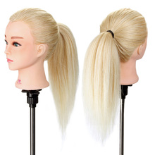 100% Human Hair 20'' Hair Salon Hairdressing Training Dummy Doll Mannequin Head With Table Stand