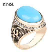 Hot Vintage Jewelry  Ring Retro Look Gold Ottoman Design Inlay White Crystal Mens Rings