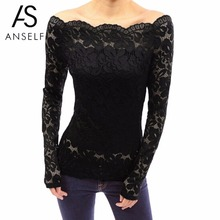 ANSELF XXXL 4XL 5XL Sexy Plus Size Lace Blouse Women Hollow Out Shirts Off Shoulder Slash Neck Long Sleeves Elegant Ladies Tops(China)
