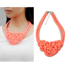 Refaxi Fashion Pure Handmade Knit Fluorescent Cotton Jute Rope Neon Orange Necklace Hot