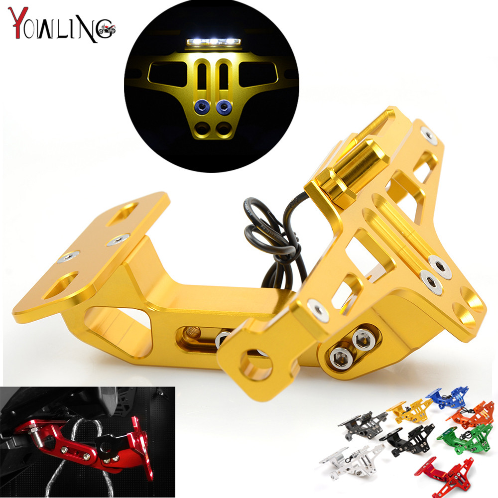 Motorcycle Adjustable Angle Aluminum License Number Plate Frame Holder Bracket For YAMAHA YZF R1 R3 R6 R15 R25 FZ6 MT-07 MT 07<br>