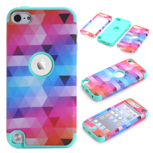 Dazzle Cover For Apple iPod Touch 5 Hybrid Hard & Soft Rubber 3-in-1 Full Body Armor Cases w/Screen Protector Film+Stylus Pen(China)