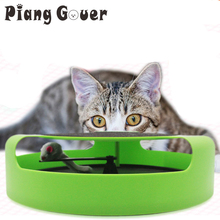 Green Pet Cat Toy Cute Round Shape Mouse Toys Scratching Board Rotary Table(China)