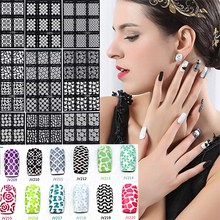 12pcs/sheet Manicure Stencil Nail Hollow Sticker 20 Designs Fingernail Decals Stickers Fashion Style