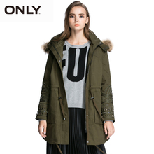 ONLY Brand NEW women fashion elegant high quality solid padded overcoat Trench Coat female Outerwear Woolen cloth 115322002(China)