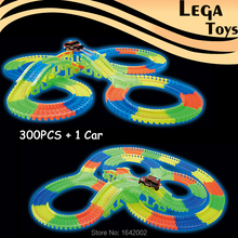 Slot Glow race track DIY Assembly Toy Car Bend Flex Flash in the Dark LED Racecar Fluorescence Puzzle Education Toys Vehicle(China)