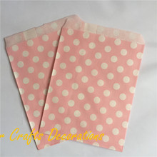 125pcs/lot 5*7 inch Light Pink Polka Dots Food Safe Paper Treat Bags Wedding Party Favors Candy Buffet Supplies