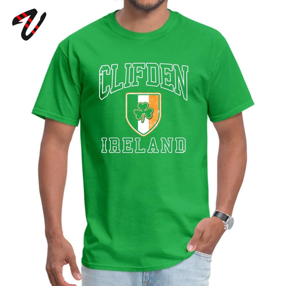 Short Sleeve Tops T Shirt O Neck 100% Cotton Men's Top T-shirts Clifden Ireland with Shamrock Normal Tops & Tees Slim Fit Clifden Ireland with Shamrock 2176 green