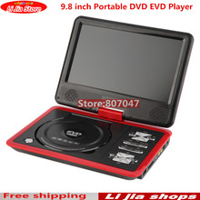 2017 NEW red 9.8 inch Portable DVD EVD Player TV VCD CD MP3/4 SD USB GAME Mobile TV free shipping(China)
