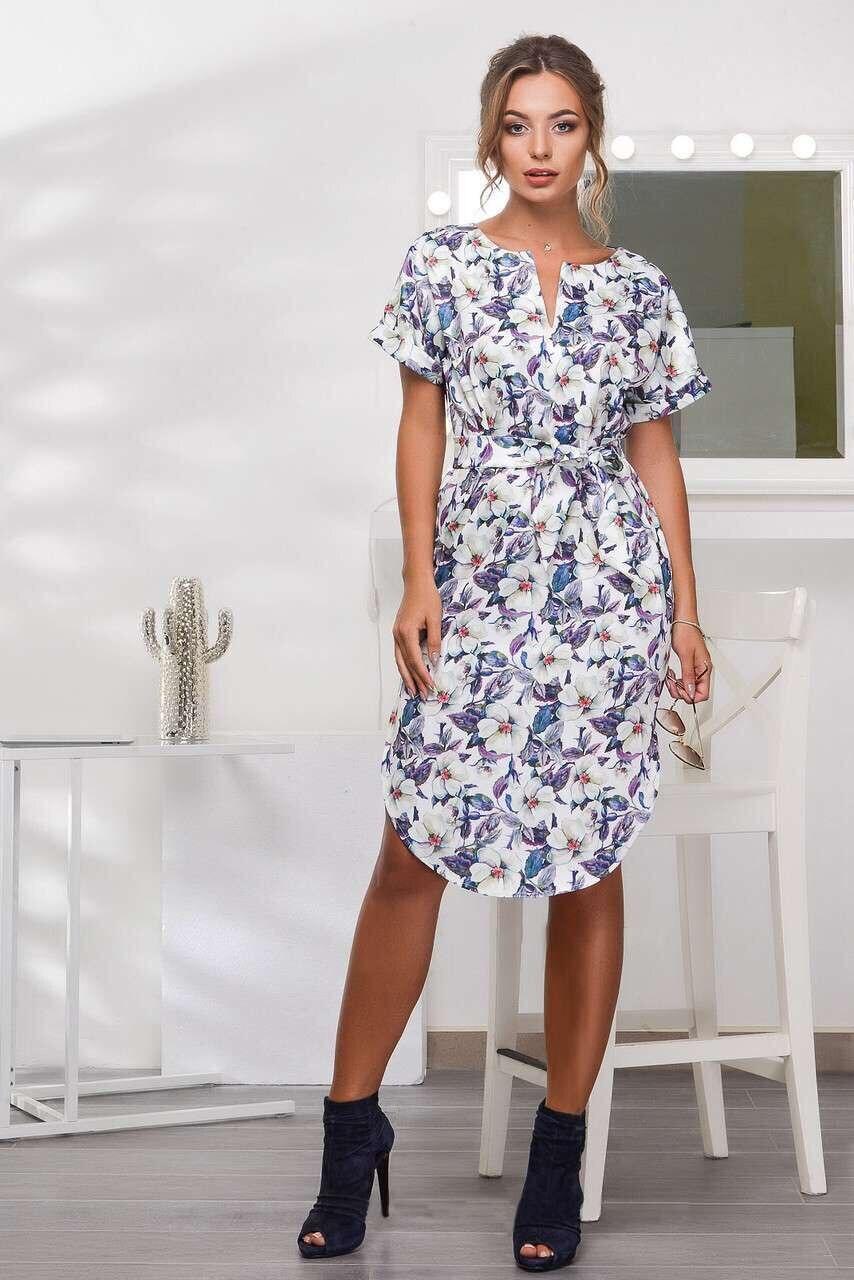 2018 Spring Summer Printed Women Dress O-Neck Hem Side Split Ladies Dresses Tie Sashes Short Sleeve Casual Sexy Female Vestidos 8
