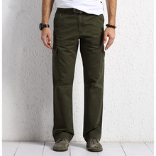 Summer Men Army Green Pockets Thin Leisure Pants Loose Overalls Cotton Straight Pants Casual Pants