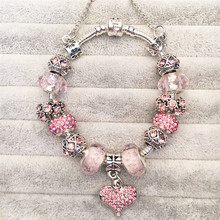 No Logo Vogue Bracelets Charms Beads Fits Original Bracelets Rhinestones DIY Fashion Jewelry Valentine's Present Pink Loveheart