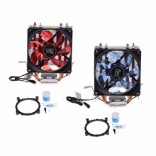 2 Heatpipe 95W CPU Cooler 3-Pin 90mm LED Fan Aluminum Heatsink For i3 i5 AM2 AM3 + 1PC Thermal Grease