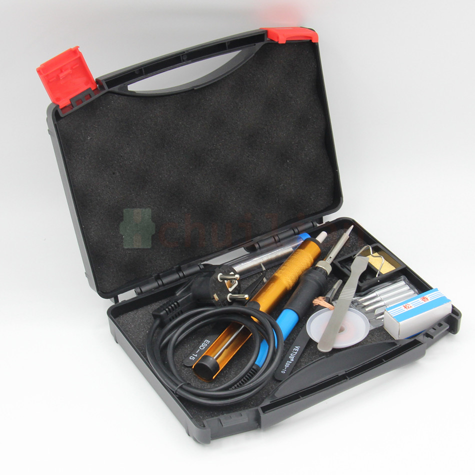 EU 220V 60W Adjustable Temperature Electric Soldering Iron Kit With 5pcs Tips Portable welding rework repair tool Toolbox<br>