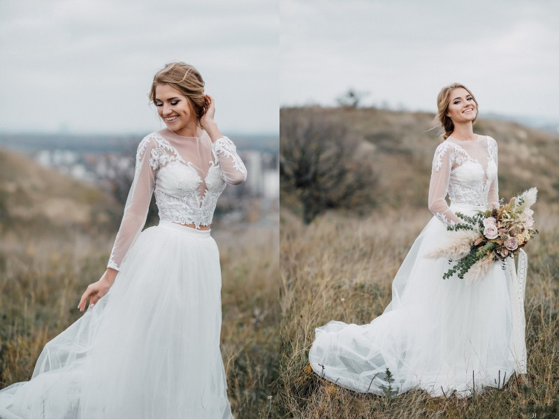 2019 Bohemian Wedding Dresses Jewel Long Sleeve Lace Appliques Bridal Gowns Boho Vestidos De Noiva Country Wedding Dress