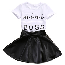 2017 New Fashion Toddler Kids Girl Clothes Set Summer Short Sleeve Mini Boss T-shirt Tops + Leather Skirt 2PCS Outfit Child Suit